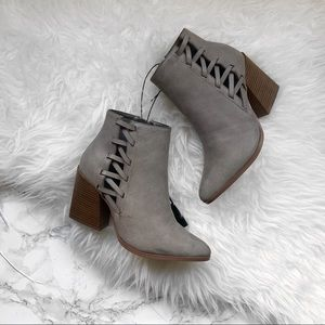 Forever 21 gray faux leather booties NWT